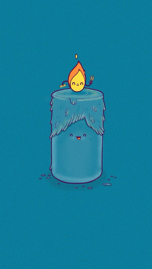 Cute Cartoon Candle And Flame