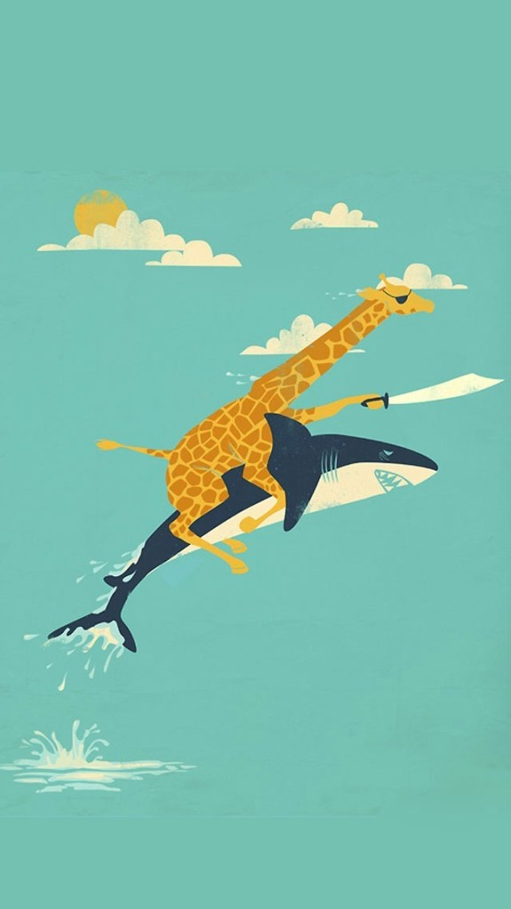 Funny Giraffe And Shark Illustration