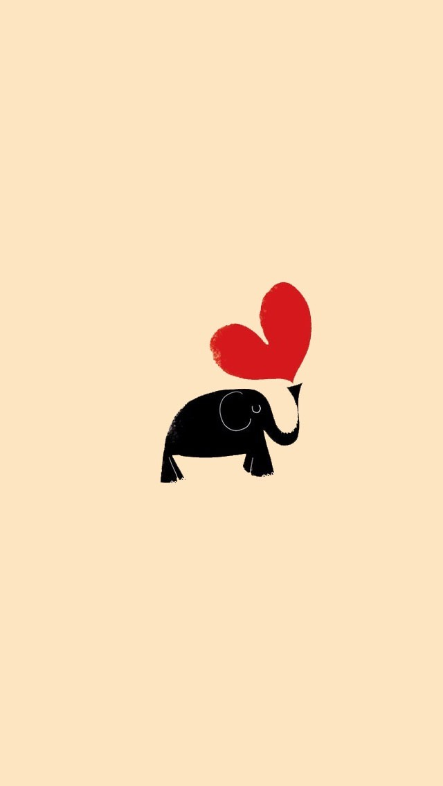 Love Wallpaper For Iphone 5c : Hand Painted Elephant and Love Heart Wallpaper - Free iPhone Wallpapers