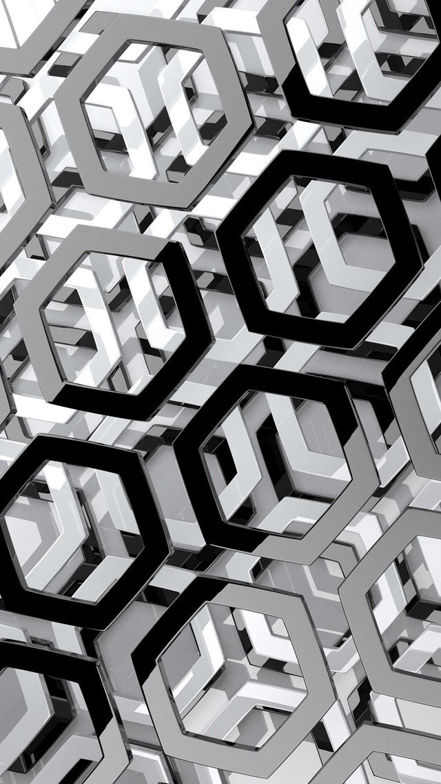 3D Black and White Hexagons