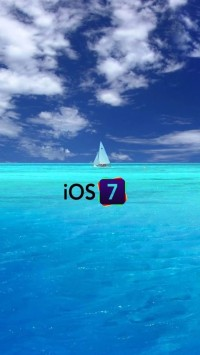 iOS 7 Logo with Blue Sea Background