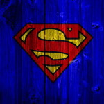 Blue Wood Superman Logo