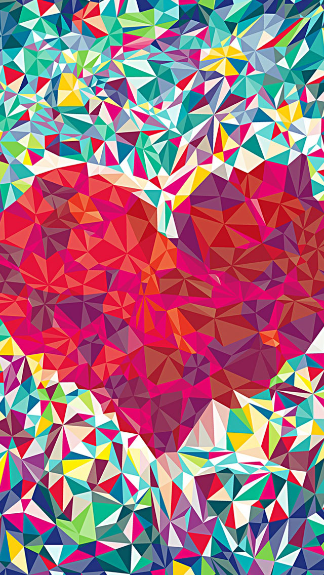 Love Wallpaper For Iphone 5c : Kaleidoscope Love Heart Wallpaper - Free iPhone Wallpapers