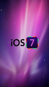 iOS 7 Logo With Purple Galaxy Background
