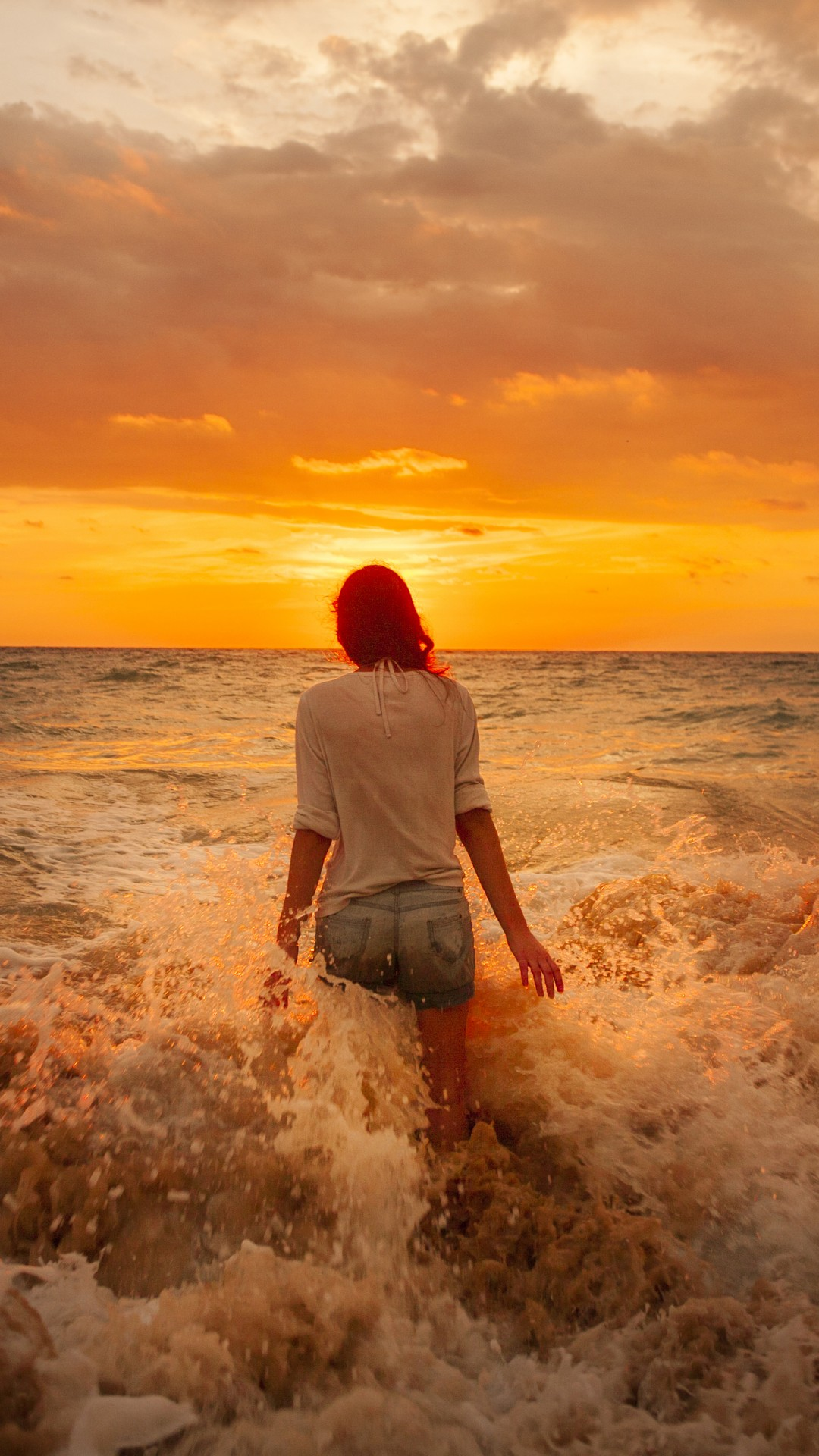 Girl Sea Sunset
